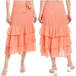 Tularosa high Rise Tiered Chiffon Maxi Skirt peach